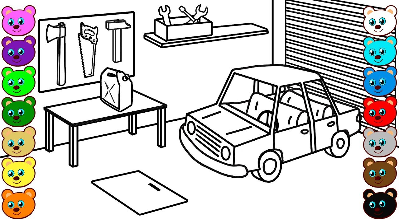car garage coloring pages - photo#8