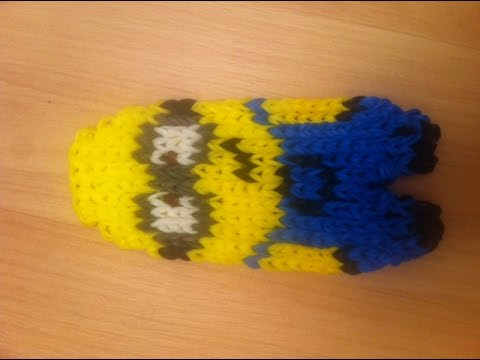 rainbow loom evil minion action figure doll amigurumi 3d crochet hook only loomless funnydog tv. Black Bedroom Furniture Sets. Home Design Ideas