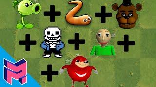 Plants vs Zombies Fusion Hack Animation (Peashooter + Slither.io + FNAF + Sans + Baldi + Knuckles)