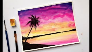 Palm Tree Colorful Sunset Watercolor Painting Tutorial