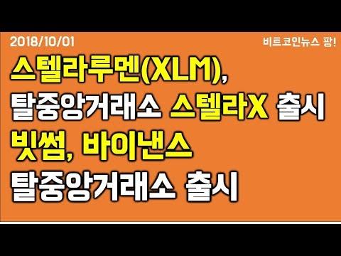[비트코인뉴스 팡] 스텔라루멘(XLM), 탈중앙화거래소 스텔라X로 1달러 향해 달린다 / 바이낸스, 탈중앙거래소 출시가 시장에 미치는 영향