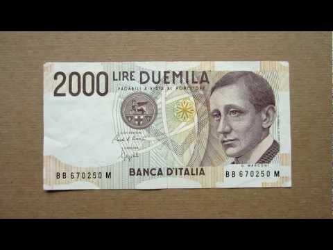2000 Italian Lire Banknote (Two Thousand Italian Lire / 1990), Obverse and Reverse