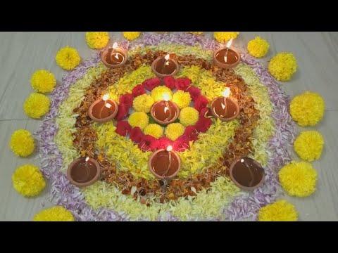 Diwali Diya Decoration Ideas l Diwali Rangoli with Flowers & Depam Decoration ideas l Diwali Decorat