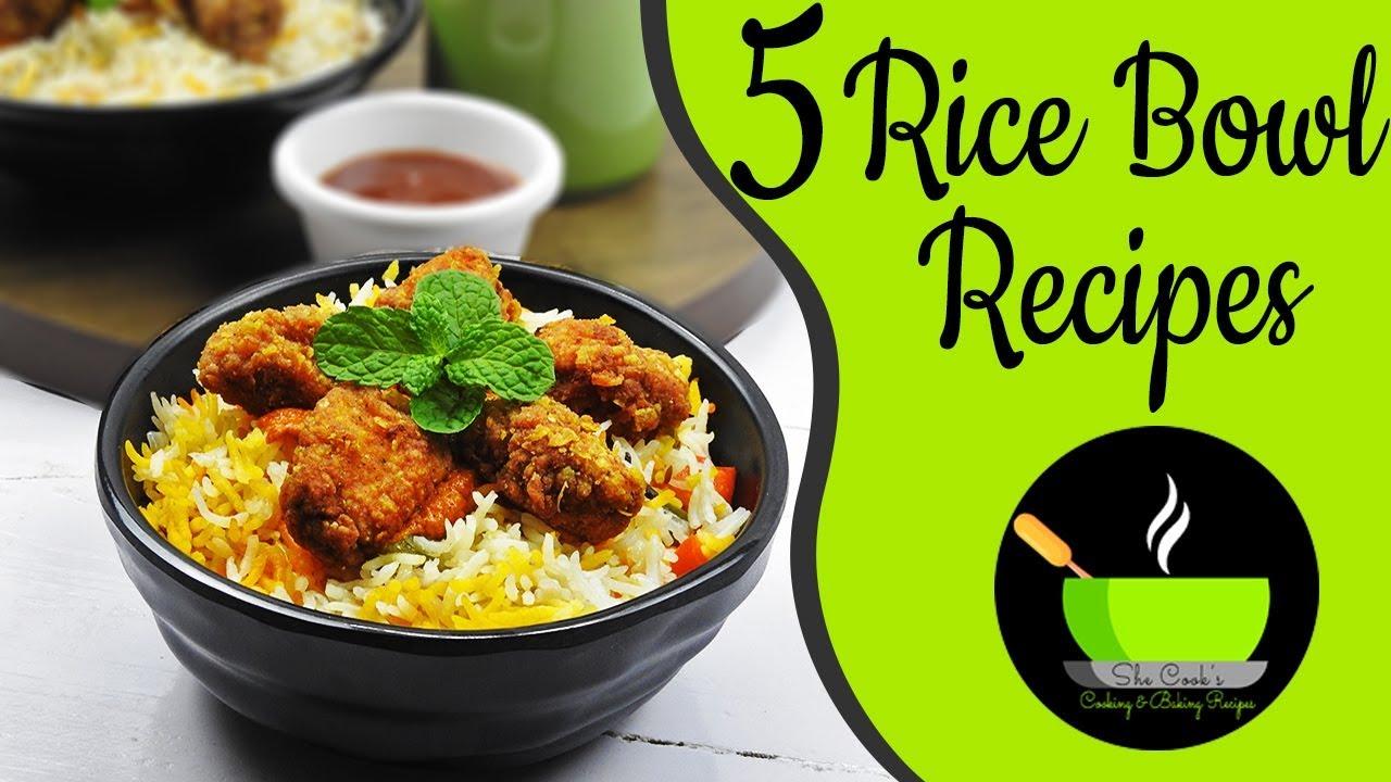 5 Rice Bowl Recipes | KFC Chicken Rice Bowl | Quick Indian ...
