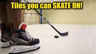Hockey tiles you can SKATE ON in our office ! Xtraice Synthetic rink