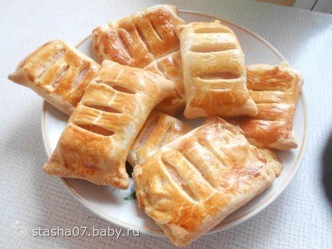 Слоеное тесто колбаса сыр пошагово