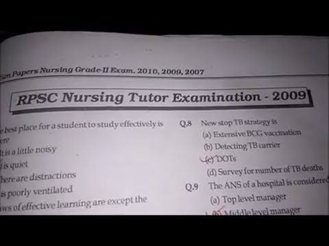 RPSC NURSING TUTOR EXAMINATION 2009 PAPER | QUESTION WITH ANSWER KEY | 100+ QUESTION FOR STAFF NURSE