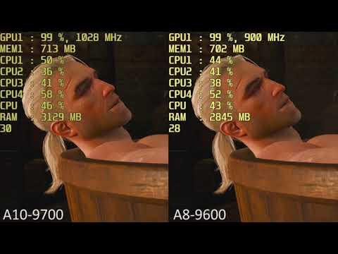 AMD A10-9700 vs. AMD A8-9600 R7 iGPU in 14 Games. Gameplay Benchmark Comparison