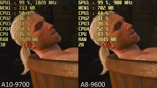 aMD A10-9700 vs. AMD A8-9600 R7 iGPU in 14 Games. Gameplay Benchmark Comparison