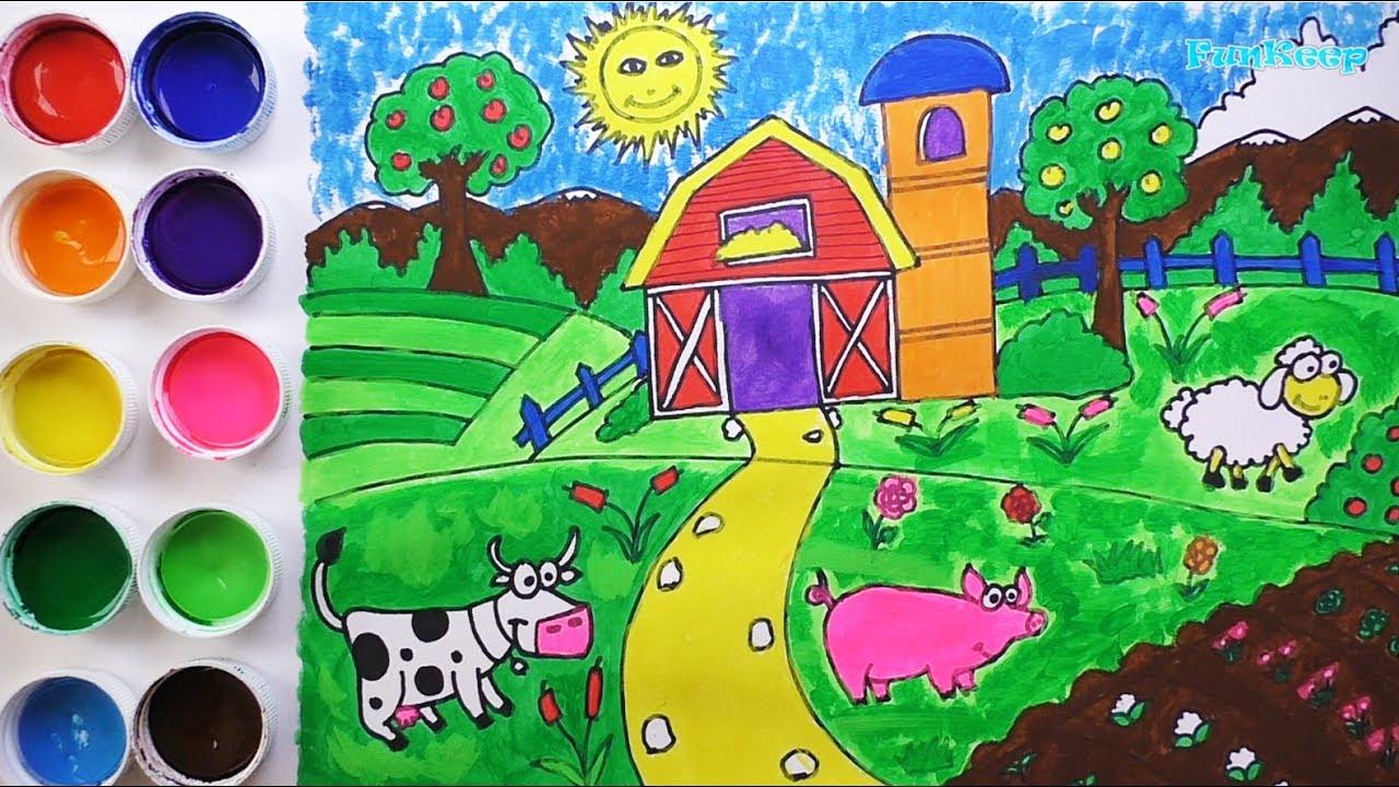 Dibuja Y Colorea Granja Dibujos Para Niños Learn Colors Funkeep
