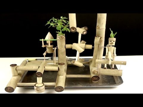 How To Make Bamboo Water Fountain with Water Powered Hammer and Hand Saw