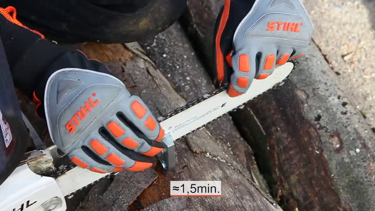 stihl chainsaws sharpening chains with the 2 in 1 file holder youtube. Black Bedroom Furniture Sets. Home Design Ideas