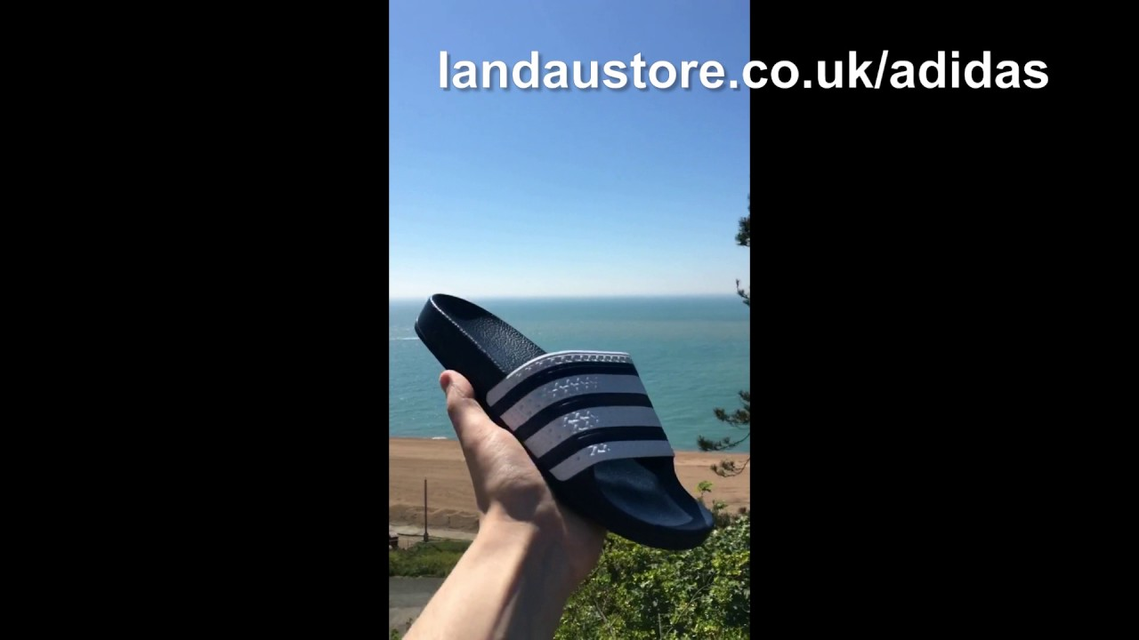 12fb7c9baa832d ADIDAS MENS ADILETTE SLIDES WHITE NAVY STRIPES - YouTube