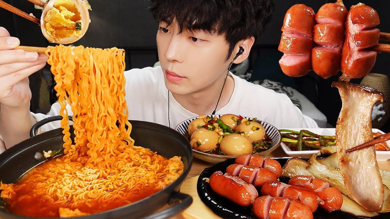 MUKBANG | 집밥! 직접 만든 간장 계란 레시피 & 진라면 소세지 버섯구이 파김치 먹방 | RECIPE KOREAN HOME FOOD