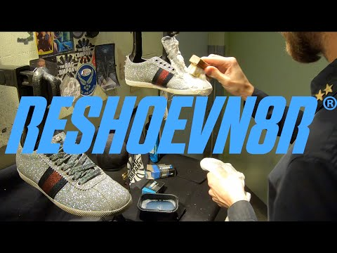 ASMR | GUCCI GLITTER SNEAKER CLEANING with RESHOEVN8R