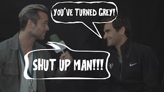 "Federer & Interviewer trade INSULTS: ""You turned grey!"", ""SHUT UP MAN!"""