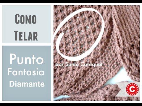 Como Telar el Punto Fantasia Diamante - Diamond Lace Stitch with Figure 8 in Spanish