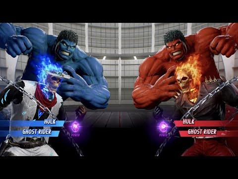 Blue Hulk And Blue Fire Ghost Rider Vs Red Hulk And Ghost Rider - MARVEL VS. CAPCOM: INFINITE