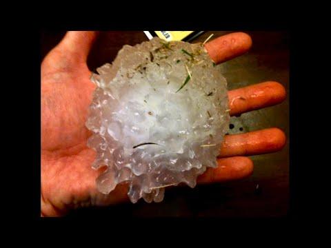 Wichita Kansas Hail Storm; Smashes Glass Table