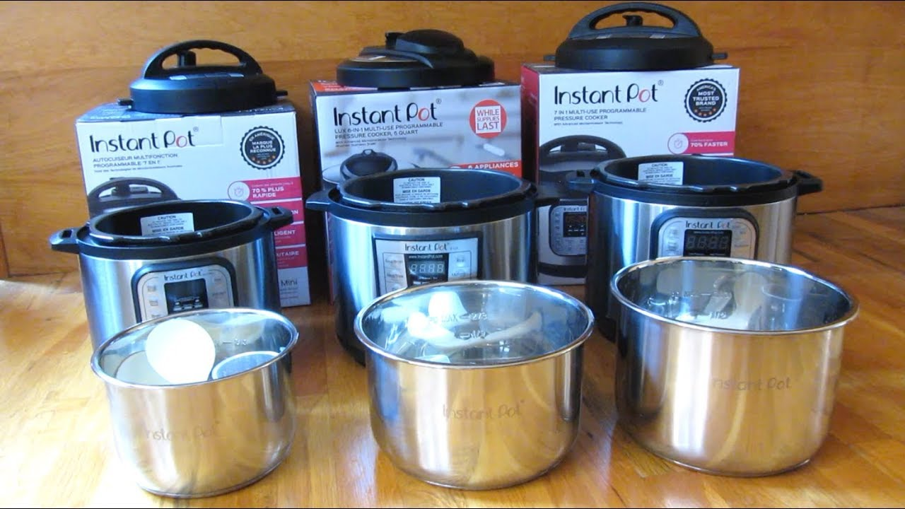 Instant Pot 3qt Vs 5qt Vs 6qt Size Comparison Youtube