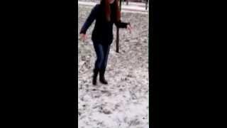 Girl fell through the ice