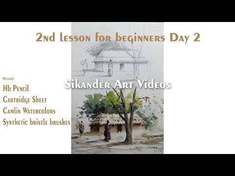 Day 2 Lesson Watercolor Painting Landscape for Beginners by Sikander Singh Chandigarh INDIA