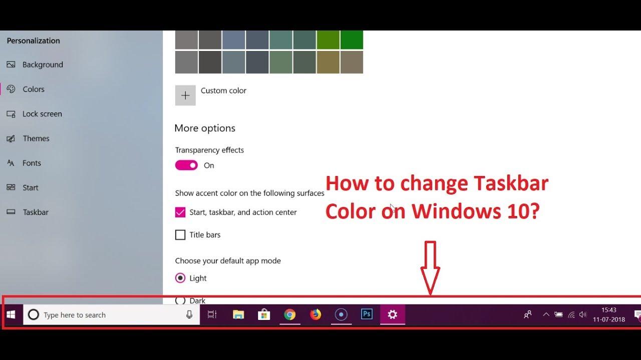 How to Change Taskbar Color on Windows 10