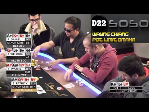 $5/$5 Pot Limit Omaha Hands of Wayne Chiang! Feat. Bart Hanson on Live at the Bike