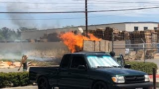 Trailer, Truck, Field and telephone poles on fire! Drama right across the street from SMD HQ.