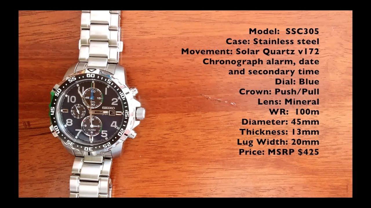 Hd Video 7 Ssc305 Seiko Solar Chronograph Alarm Youtube