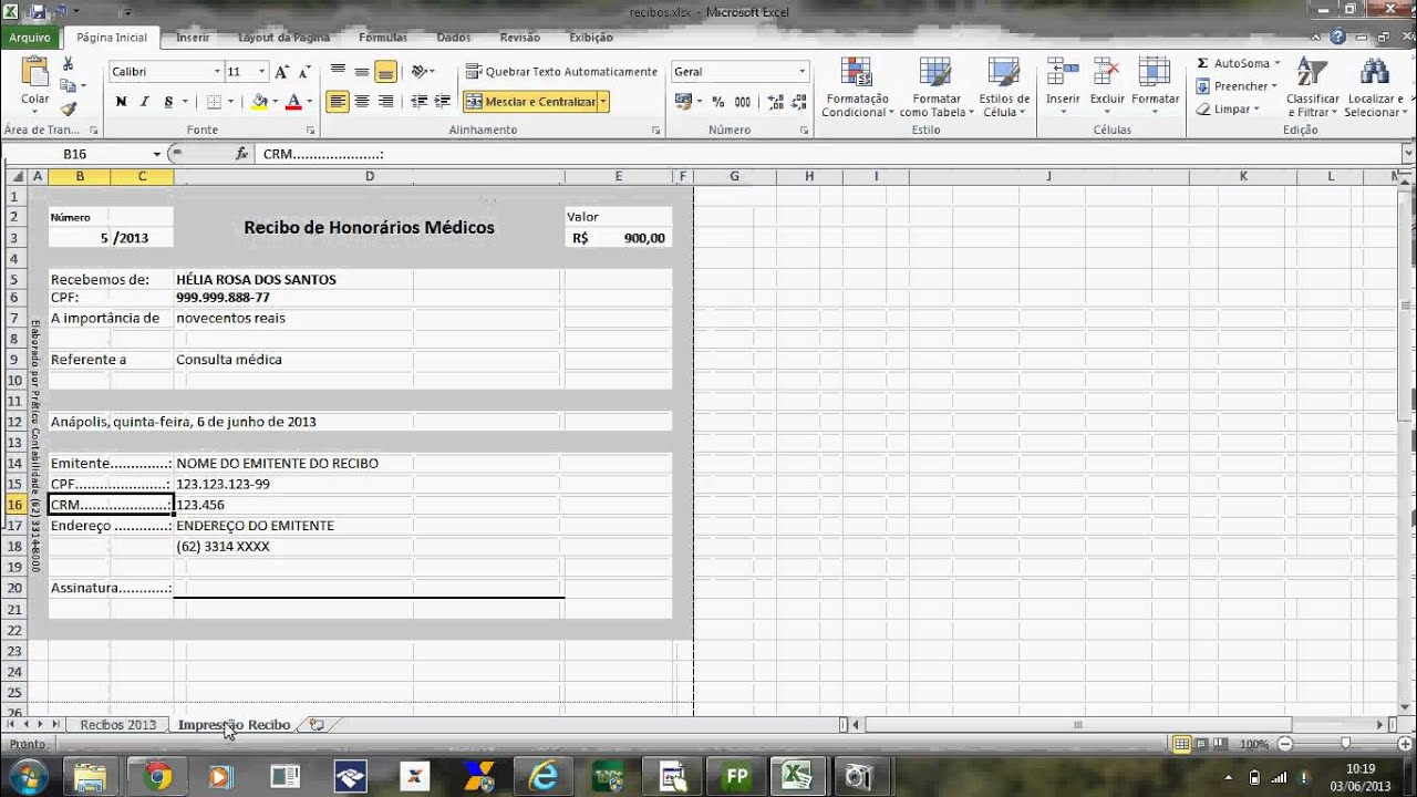 Modelo controle de recibo excel c instru es youtube for Recibo nomina excel gratis