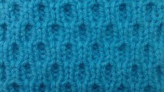 Узор Соты из резинки. Двухсторонний узор. Вязание на спицах.