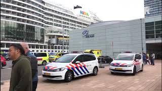 Hulpdiensten staan bij de cruiseterminal