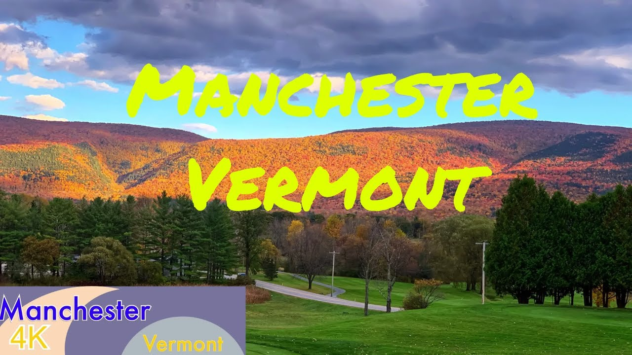 Small Town in USA: Driving Through Manchester  Vermont (VT), in Fall, Vermont Fall Foliage Drives 4K