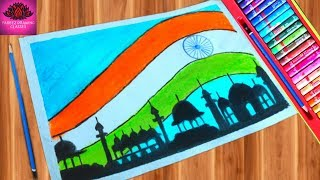 How to draw Republic Day || 26 January drawing with Oil Pastels - step by step (very easy)