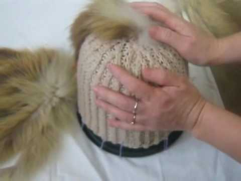 Вязание мехом норки. Шапка гном.