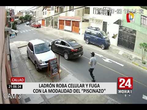 """Callao: Ladrón roba celular y fuga con la modalidad del """"piscinazo"""""""