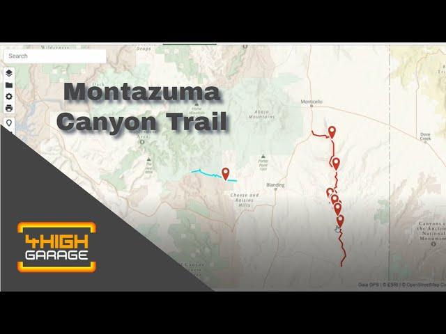 Montezuma Canyon track on Gaia