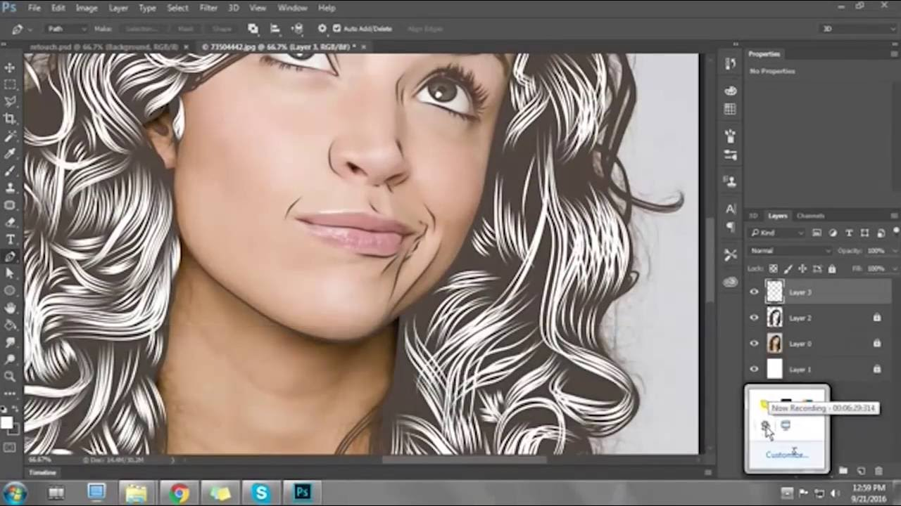 Tutorial membuat vektor kartun photoshop part 2 coloring and shading - Photoshop Vector Time Lapse Outline Curly Part 1 2016 12 13