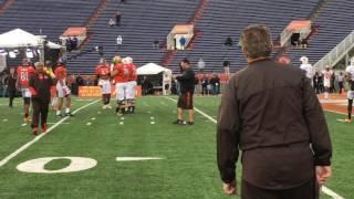 Hue Jackson and Gregg Williams talk trash during Senior Bowl practice