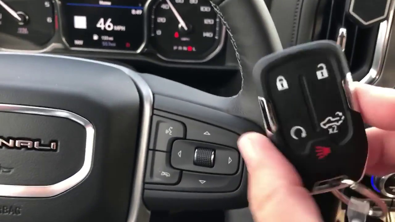 2019 GMC Sierra 1500 Denali Interior feature and key fob ...