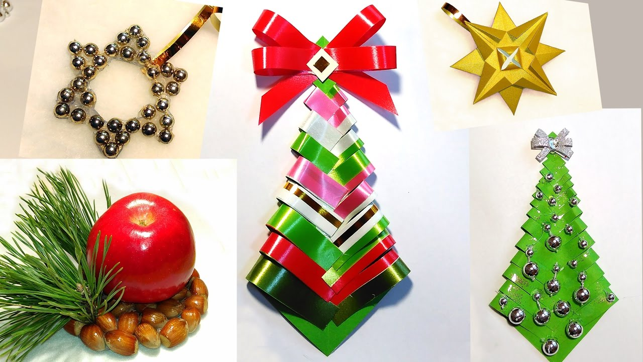 Easy diy christmas tree paper christmas tree ribbon Diy christmas tree decorations