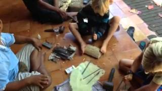 Learning Balinese Wood Carving ... #bali #woodcarving #kids #culture