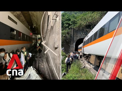At least 41 people dead after train derails in eastern Taiwan