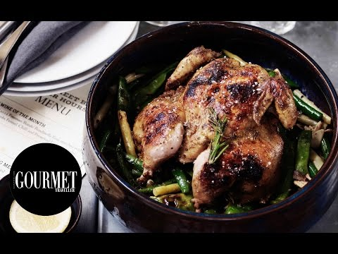 Spatchcock with beans and white anchovy | Gourmet Traveller