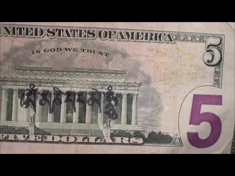 $5 Bill With STAMP FOUND On Back - Searching U.S. Five Dollar Bills