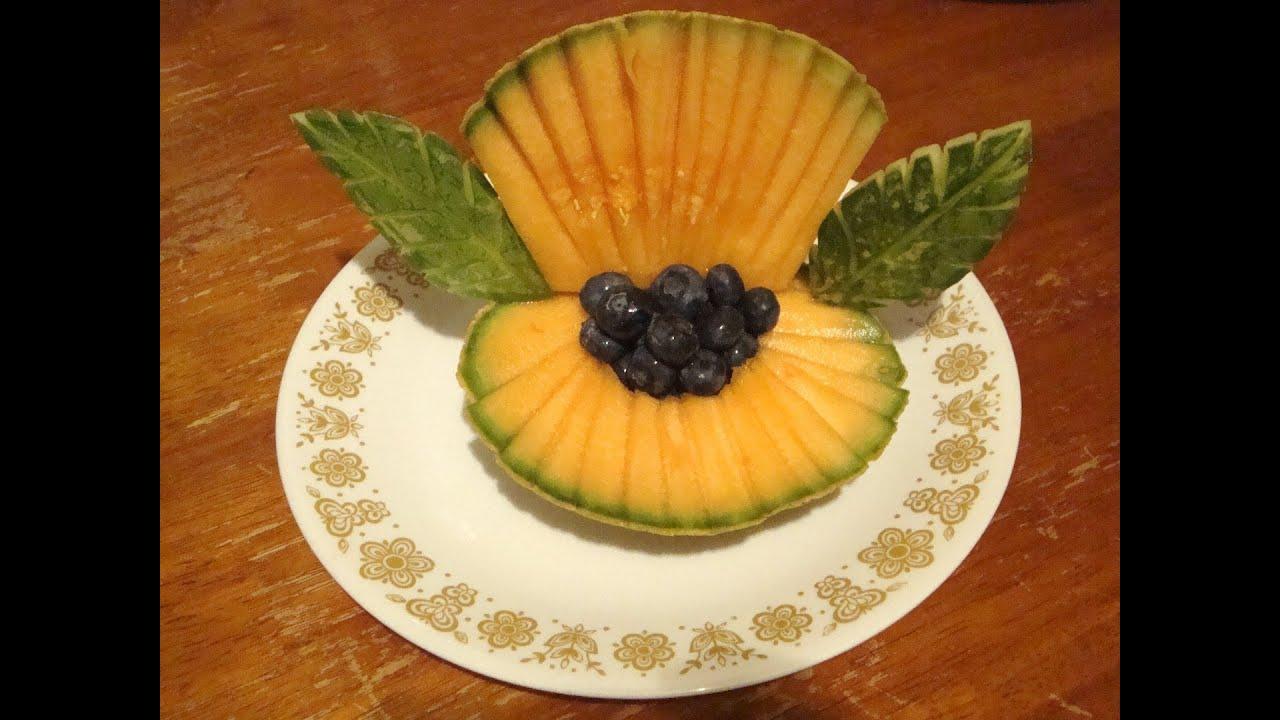 Concha de mar con un mel n decoraciones con fruta la for Secar frutas para decoracion