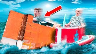 100MPH BOX FORT SPEED BOAT RACE Vs STEPHEN SHARER!!