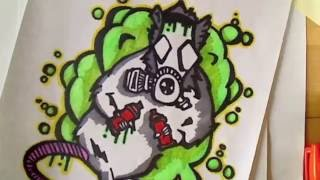 How to draw graffiti rat with gas mask