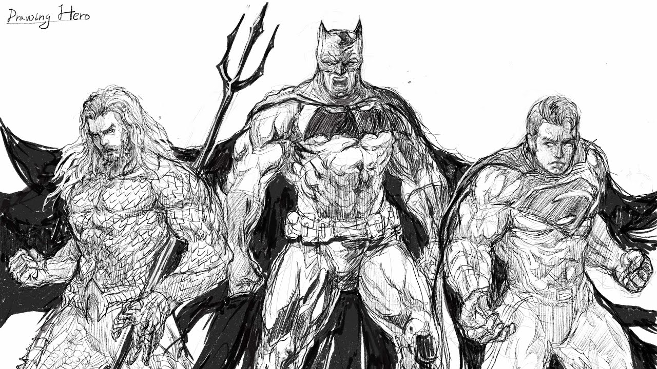 Justice League Drawing Speed Drawing Batman Superman Aquaman Timelapse Tutorial Youtube Unfollow justice league sketch variant to stop getting updates on your ebay feed. justice league drawing speed drawing